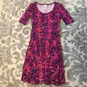 LuLaRoe Nicole Medium, hot pink geometric pattern
